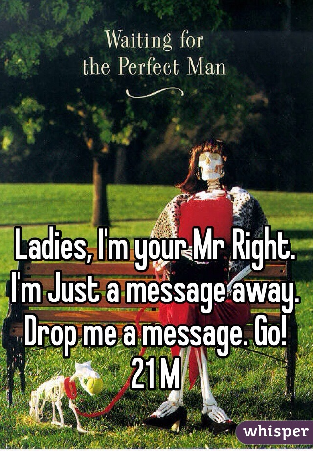 Ladies, I'm your Mr Right. I'm Just a message away. Drop me a message. Go!  21 M