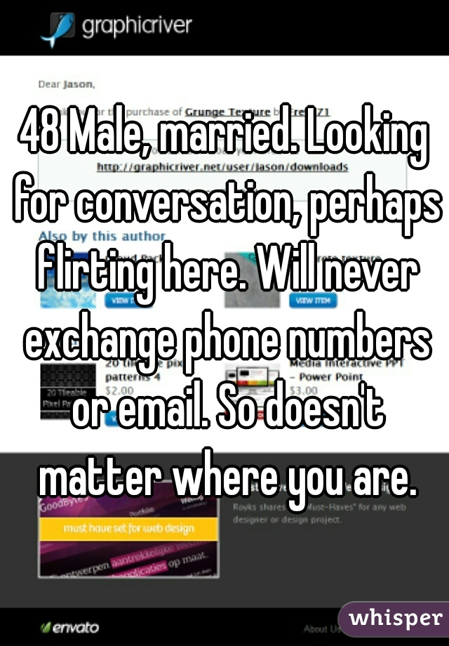 48 Male, married. Looking for conversation, perhaps flirting here. Will never exchange phone numbers or email. So doesn't matter where you are.