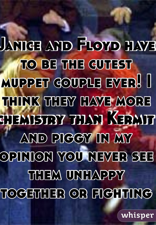 Janice and Floyd have to be the cutest muppet couple ever! I think they have more chemistry than Kermit and piggy in my opinion you never see them unhappy together or fighting