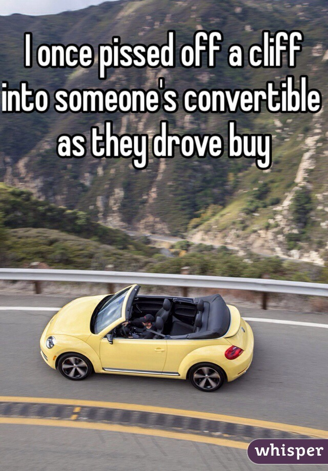 I once pissed off a cliff into someone's convertible as they drove buy