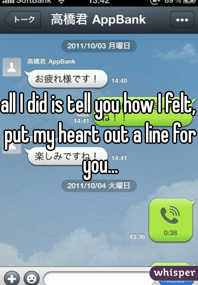 all I did is tell you how I felt, put my heart out a line for you...