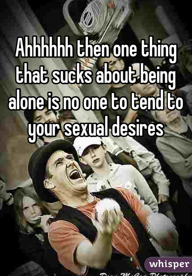 Ahhhhhh then one thing that sucks about being alone is no one to tend to your sexual desires