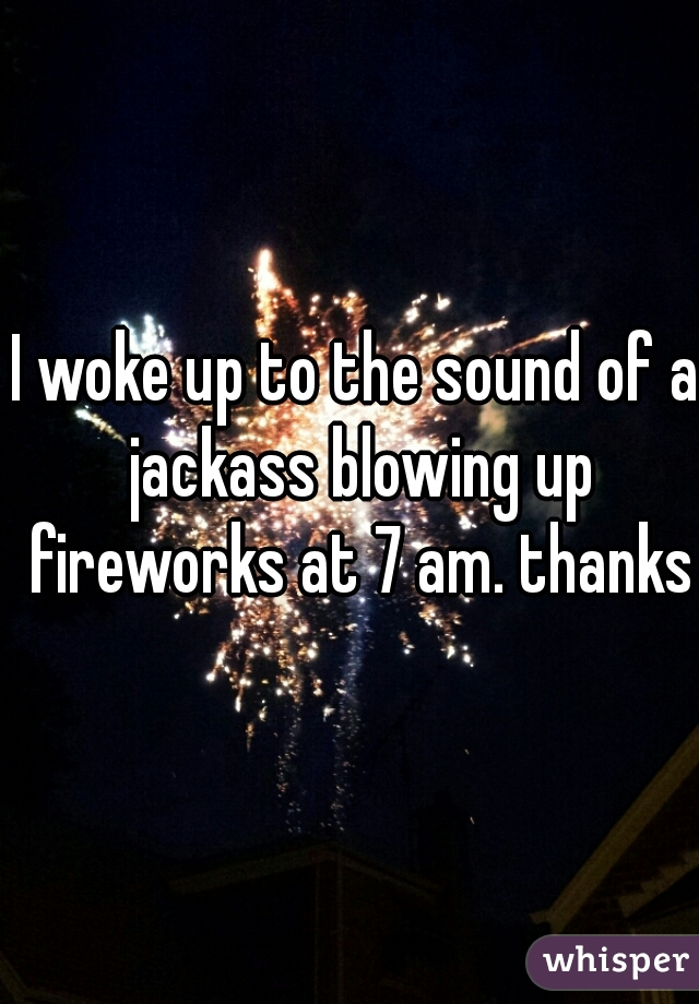 I woke up to the sound of a jackass blowing up fireworks at 7 am. thanks.
