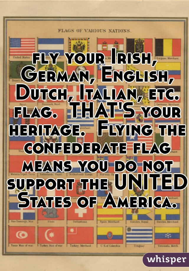fly your Irish, German, English, Dutch, Italian, etc. flag.  THAT'S your heritage.  Flying the confederate flag means you do not support the UNITED States of America.