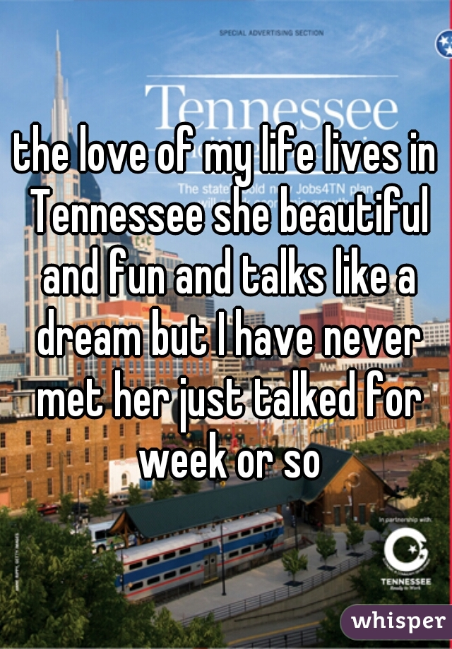 the love of my life lives in Tennessee she beautiful and fun and talks like a dream but I have never met her just talked for week or so