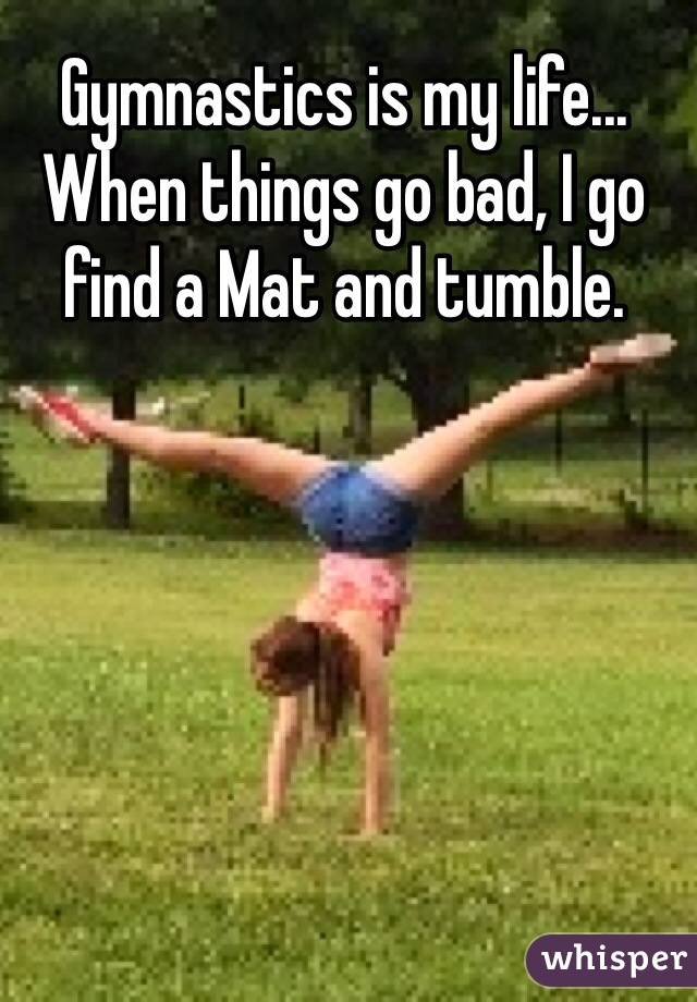 Gymnastics is my life... When things go bad, I go find a Mat and tumble.