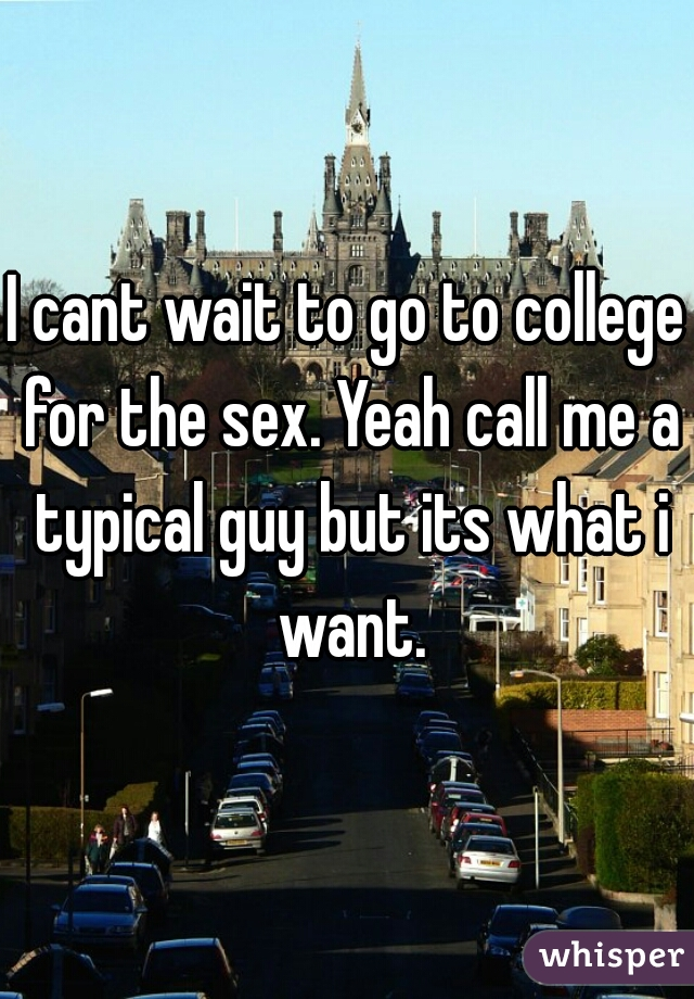 I cant wait to go to college for the sex. Yeah call me a typical guy but its what i want.