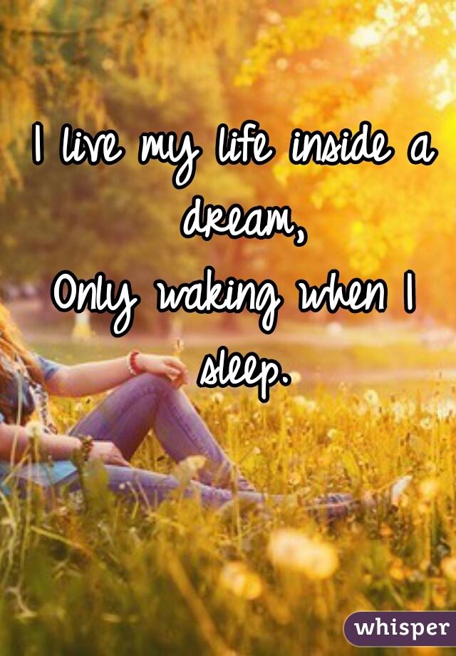 I live my life inside a dream, Only waking when I sleep.