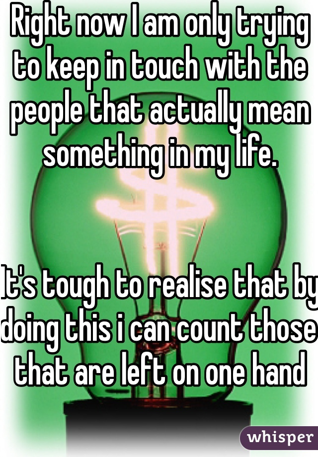 Right now I am only trying to keep in touch with the people that actually mean something in my life.   It's tough to realise that by doing this i can count those that are left on one hand