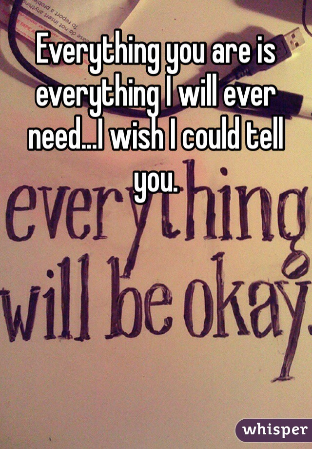 Everything you are is everything I will ever need...I wish I could tell you.