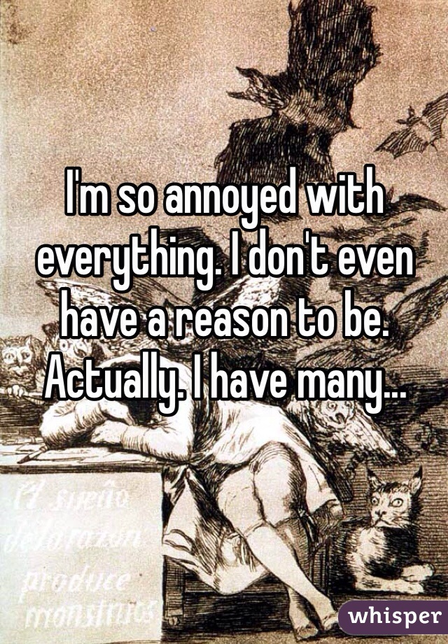 I'm so annoyed with everything. I don't even have a reason to be. Actually. I have many...