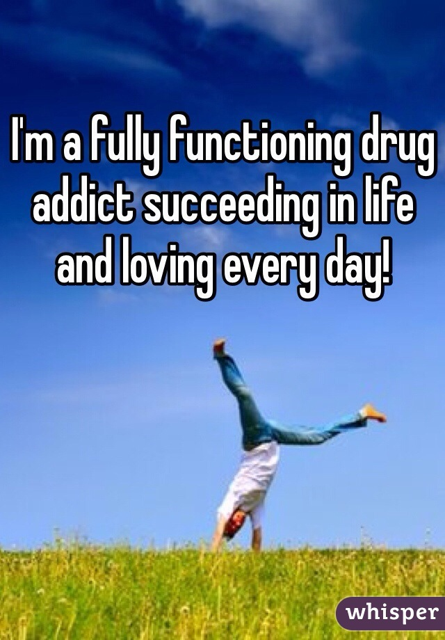I'm a fully functioning drug addict succeeding in life and loving every day!