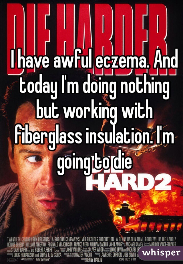 I have awful eczema. And today I'm doing nothing but working with fiberglass insulation. I'm going to die