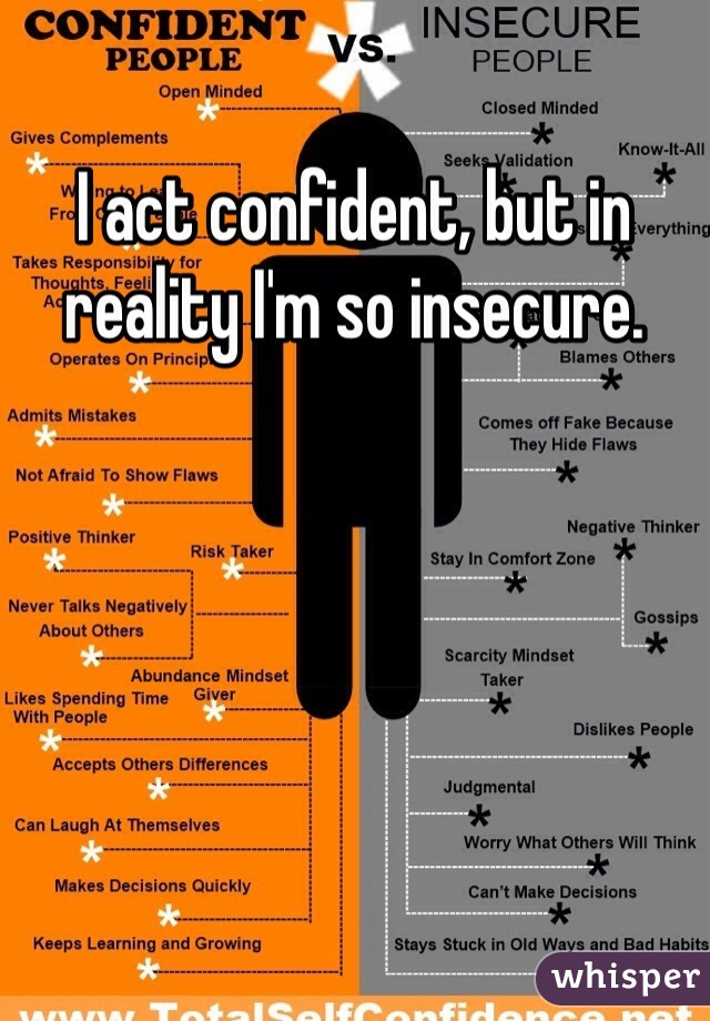 I act confident, but in reality I'm so insecure.