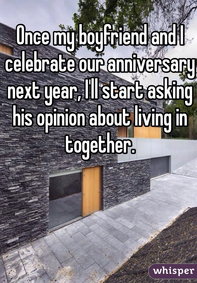 Once my boyfriend and I celebrate our anniversary next year, I'll start asking his opinion about living in together.