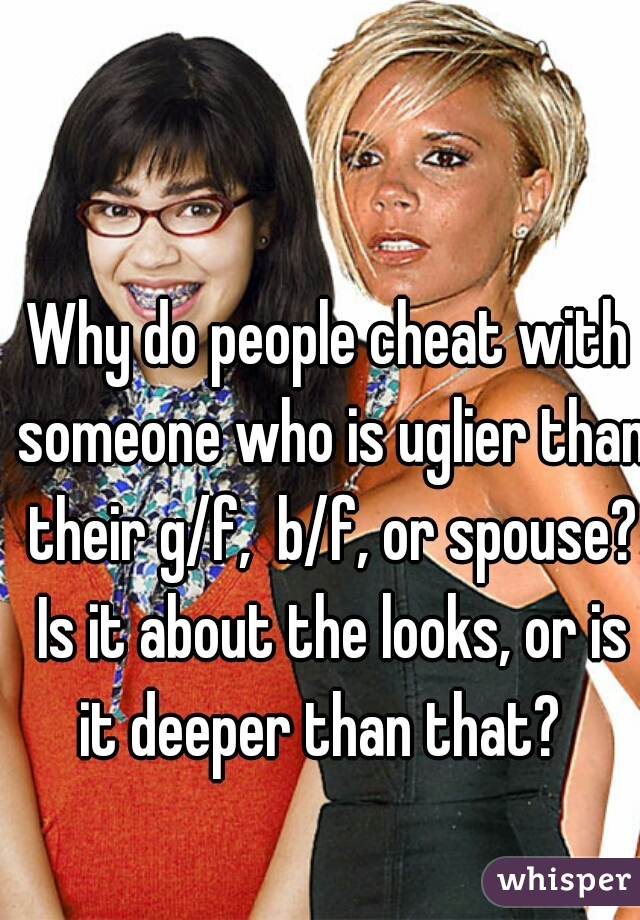 Why do people cheat with someone who is uglier than their g/f,  b/f, or spouse? Is it about the looks, or is it deeper than that?