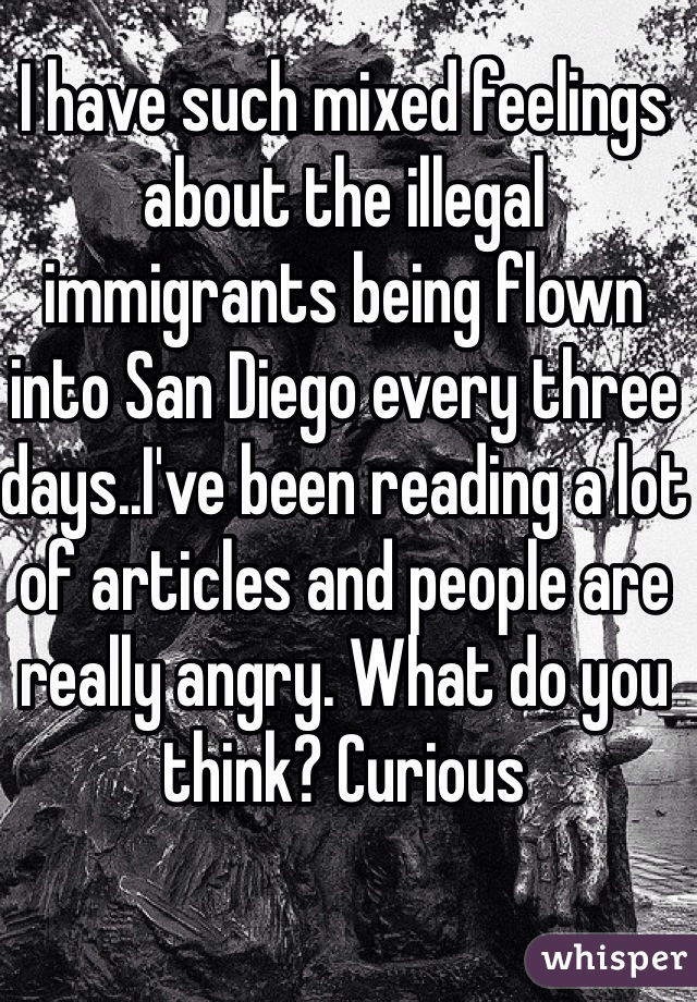 I have such mixed feelings about the illegal immigrants being flown into San Diego every three days..I've been reading a lot of articles and people are really angry. What do you think? Curious