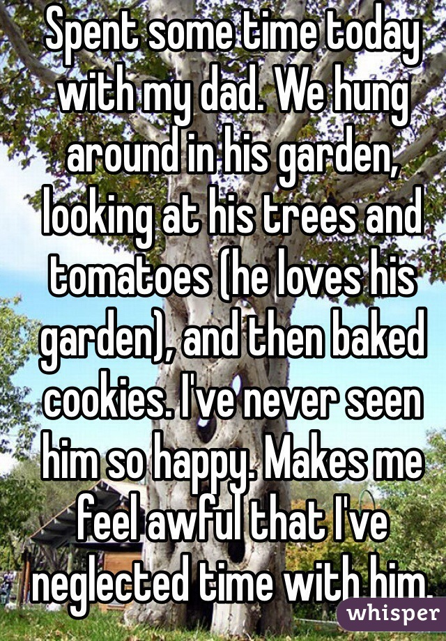Spent some time today with my dad. We hung around in his garden, looking at his trees and tomatoes (he loves his garden), and then baked cookies. I've never seen him so happy. Makes me feel awful that I've neglected time with him.