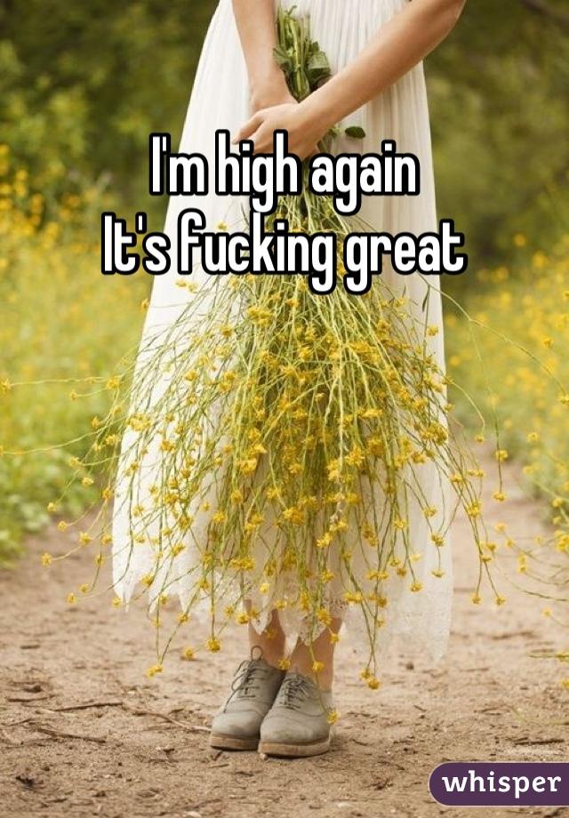 I'm high again It's fucking great