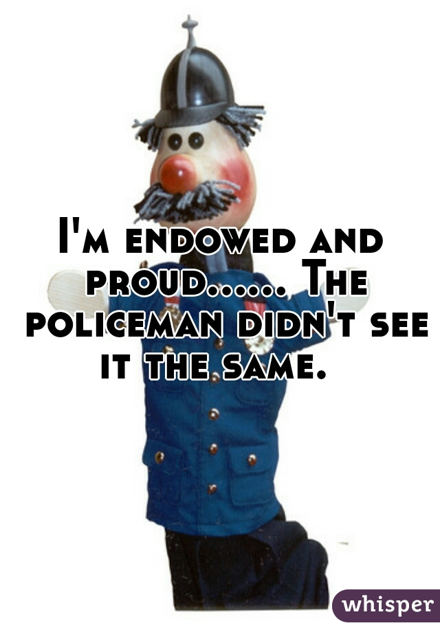 I'm endowed and proud...... The policeman didn't see it the same.