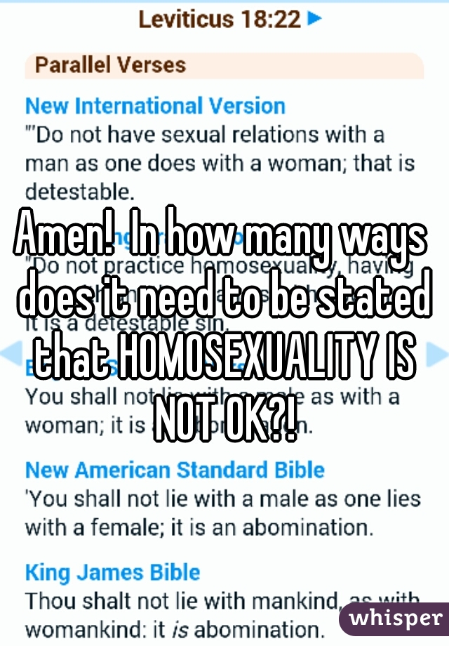 Amen!  In how many ways does it need to be stated that HOMOSEXUALITY IS NOT OK?!