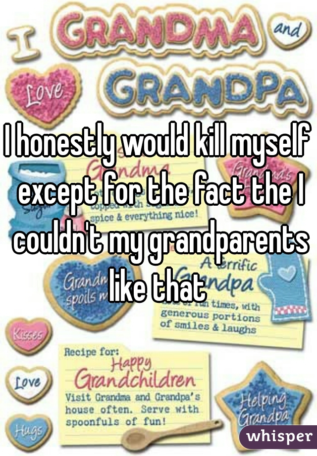 I honestly would kill myself except for the fact the I couldn't my grandparents like that