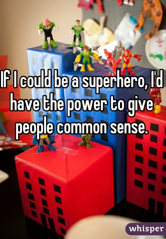 If I could be a superhero, I'd have the power to give people common sense.