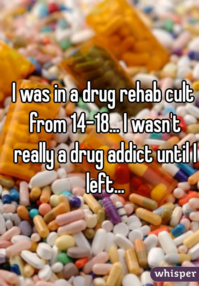 I was in a drug rehab cult from 14-18... I wasn't really a drug addict until I left...