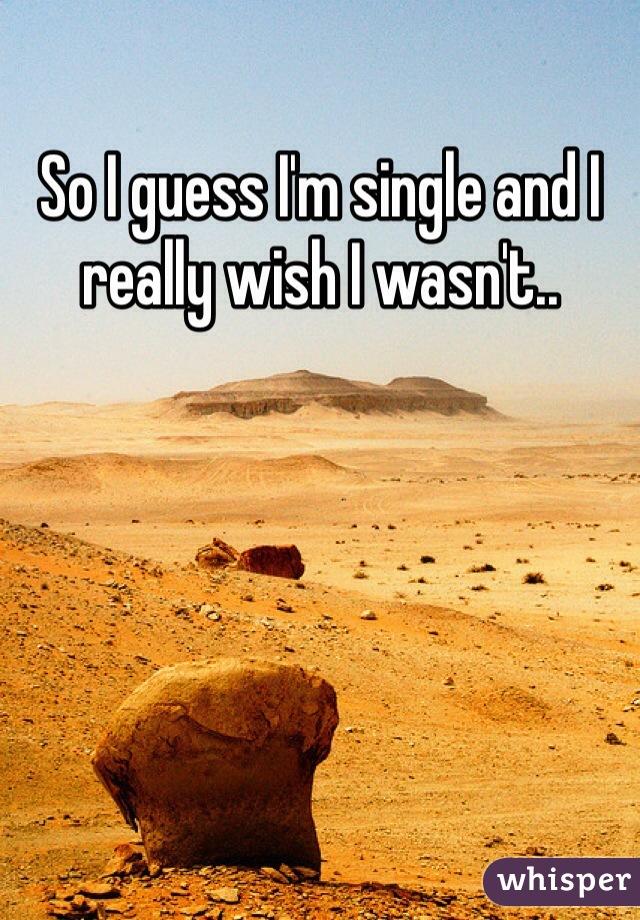 So I guess I'm single and I really wish I wasn't..