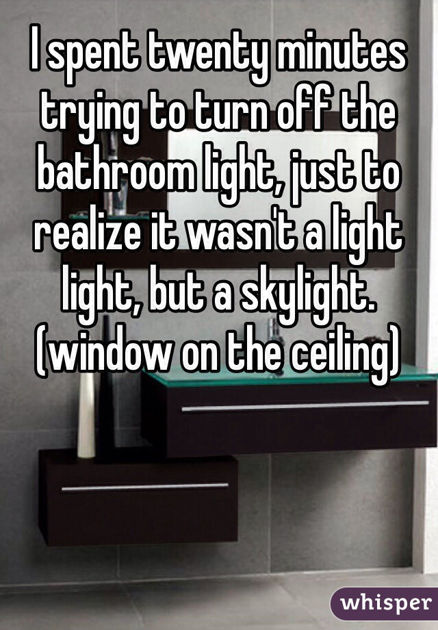 I spent twenty minutes trying to turn off the bathroom light, just to realize it wasn't a light light, but a skylight.(window on the ceiling)