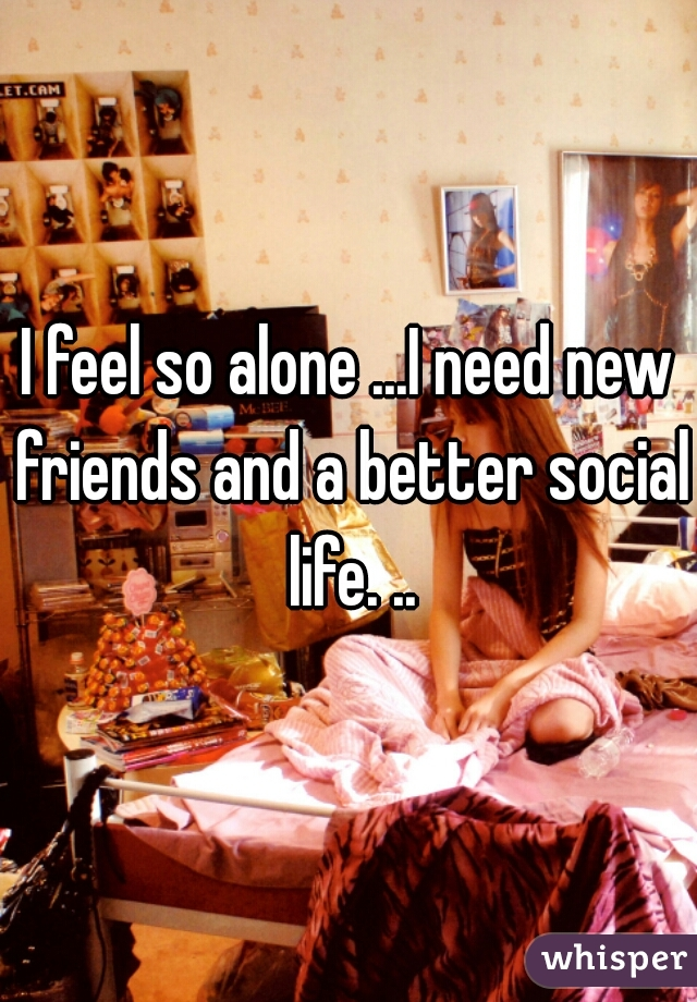 I feel so alone ...I need new friends and a better social life. ..