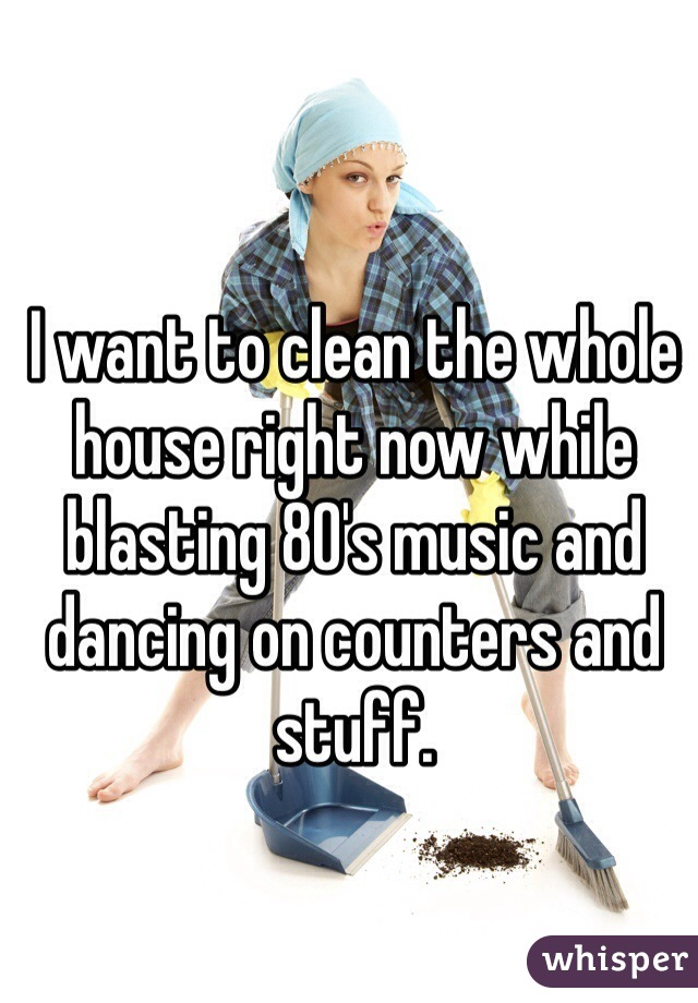 I want to clean the whole house right now while blasting 80's music and dancing on counters and stuff.