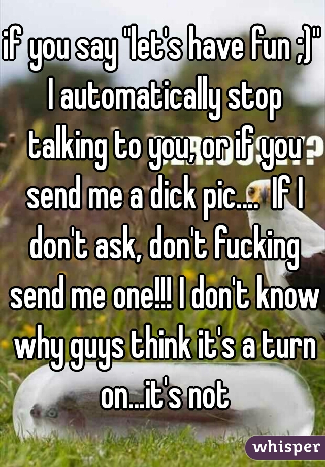 "if you say ""let's have fun ;)"" I automatically stop talking to you, or if you send me a dick pic....  If I don't ask, don't fucking send me one!!! I don't know why guys think it's a turn on...it's not"