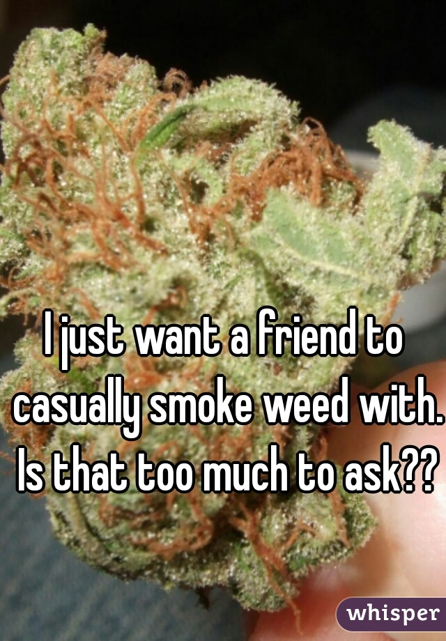 I just want a friend to casually smoke weed with. Is that too much to ask??