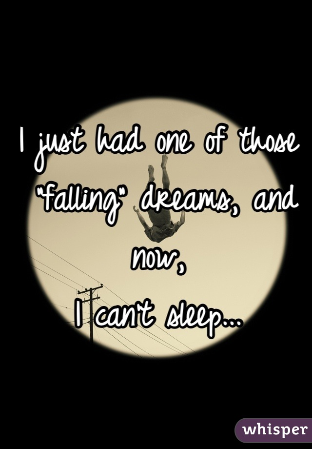 """I just had one of those  """"falling"""" dreams, and now, I can't sleep..."""