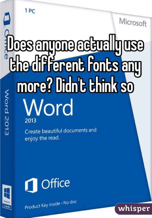 Does anyone actually use the different fonts any more? Didn't think so
