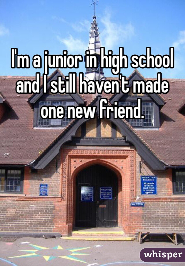 I'm a junior in high school and I still haven't made one new friend.