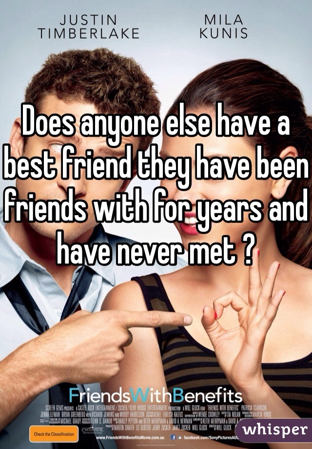 Does anyone else have a best friend they have been friends with for years and have never met ?