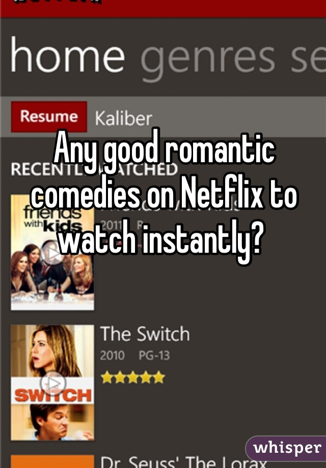 Any good romantic comedies on Netflix to watch instantly?