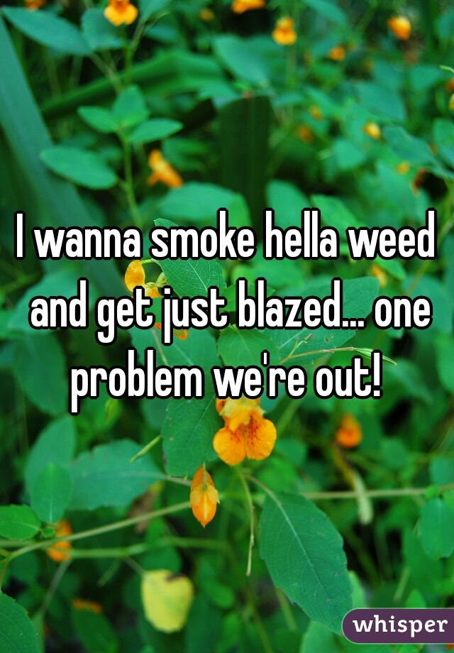 I wanna smoke hella weed and get just blazed... one problem we're out!