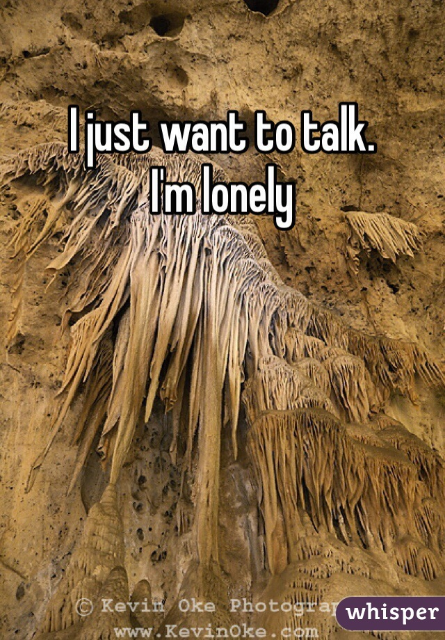 I just want to talk. I'm lonely