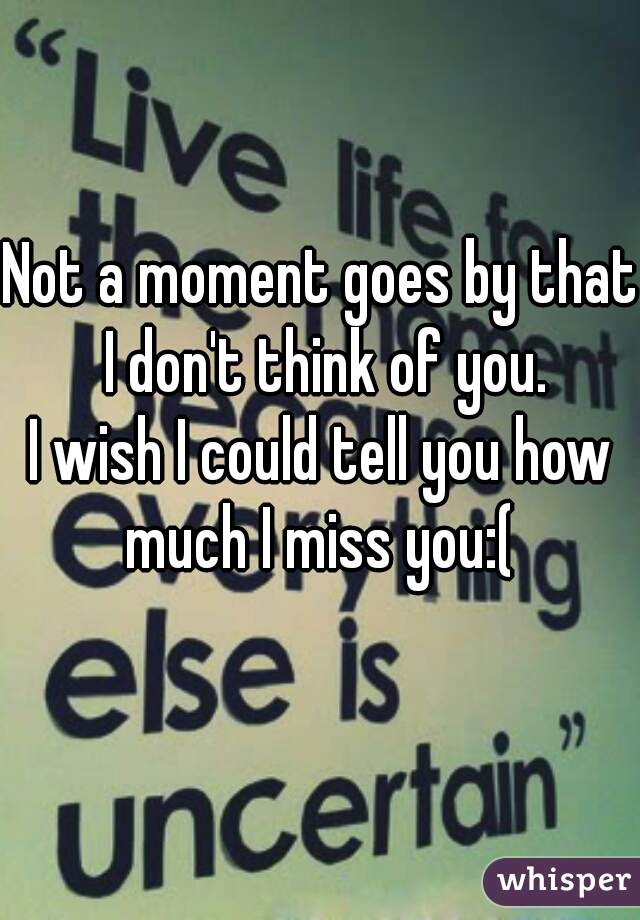 Not a moment goes by that I don't think of you. I wish I could tell you how much I miss you:(