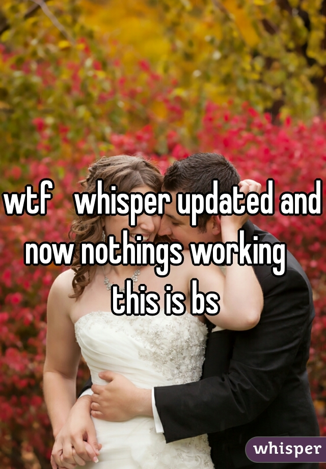 wtf   whisper updated and now nothings working    this is bs