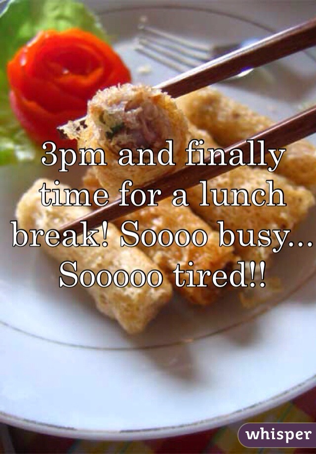 3pm and finally time for a lunch break! Soooo busy... Sooooo tired!!