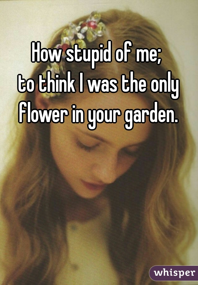 How stupid of me;  to think I was the only flower in your garden.