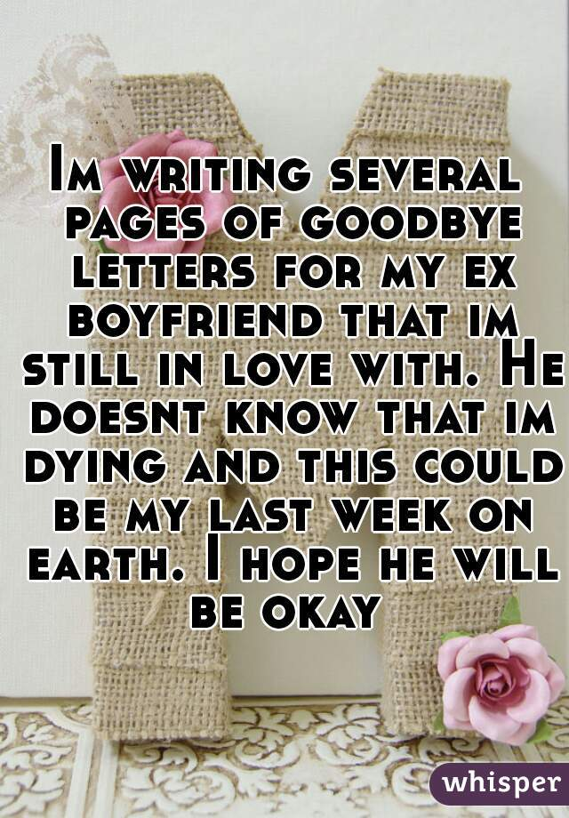 Im writing several pages of goodbye letters for my ex boyfriend that