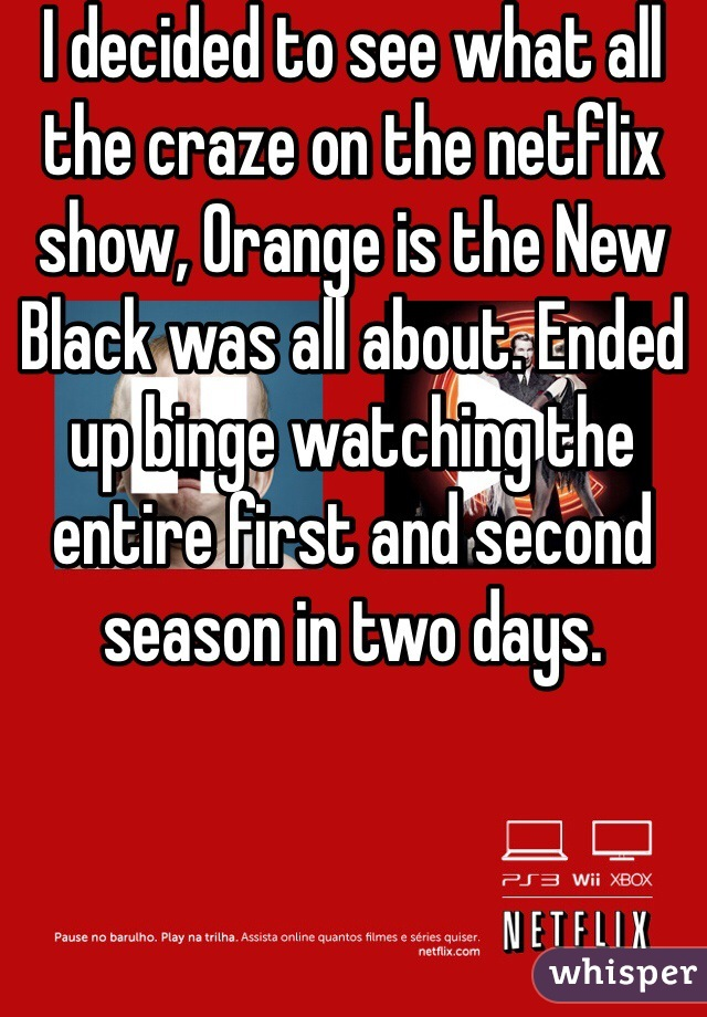 I decided to see what all the craze on the netflix show, Orange is the New Black was all about. Ended up binge watching the entire first and second season in two days.