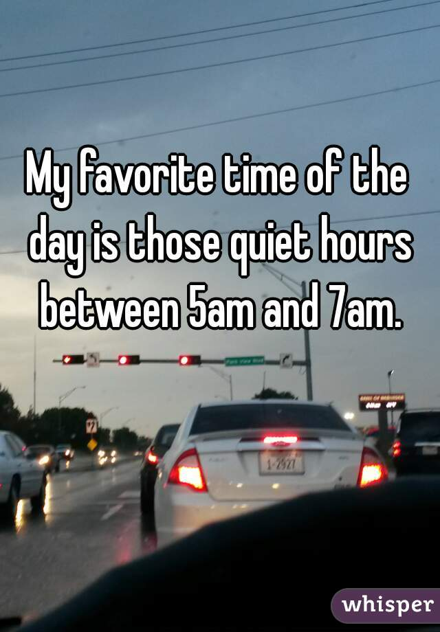 My favorite time of the day is those quiet hours between 5am and 7am.