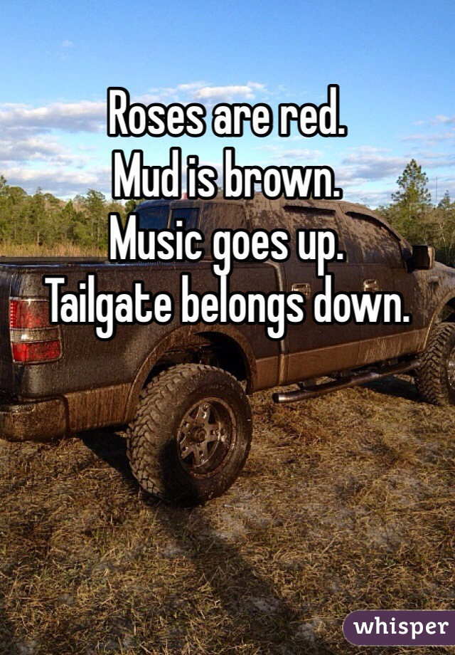 Roses are red.  Mud is brown.  Music goes up.  Tailgate belongs down.