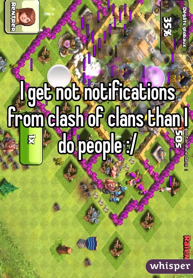 I get not notifications from clash of clans than I do people :/